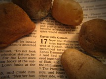 Stones laying on Bible open to Samuel 17.