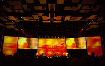 projection screens at a contemporary worship service
