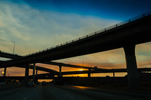Freeway at sunset intersection transition bridge overpass