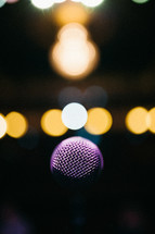 bokeh lights and a microphone