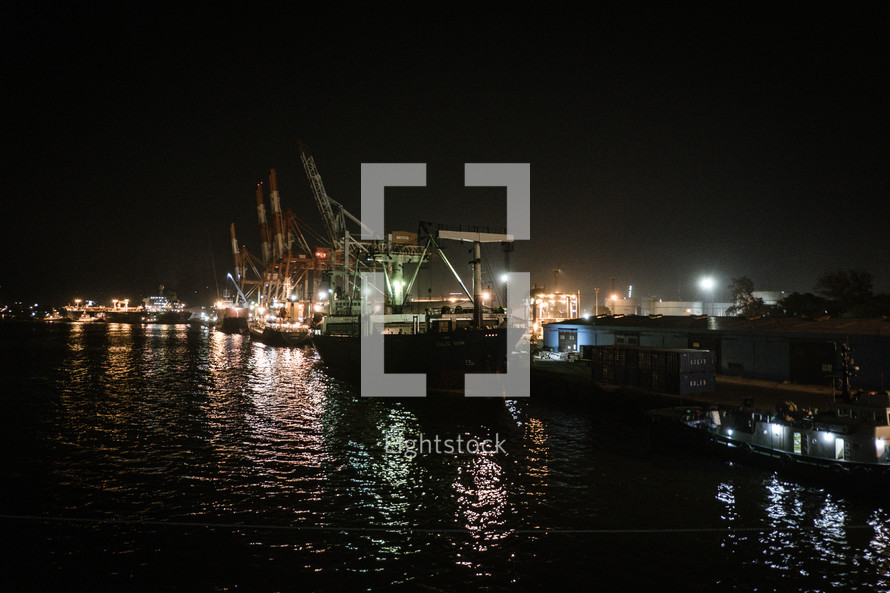 busy port at night