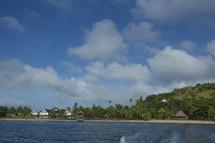 houses on a tropical coastline