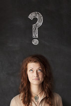 question mark, chalkboard, woman, girl, questioning, question