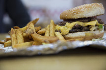 Close up of a greasy hamburger and french fries.