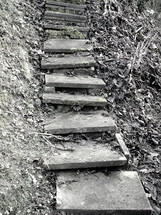 old weather-beaten stairway, 