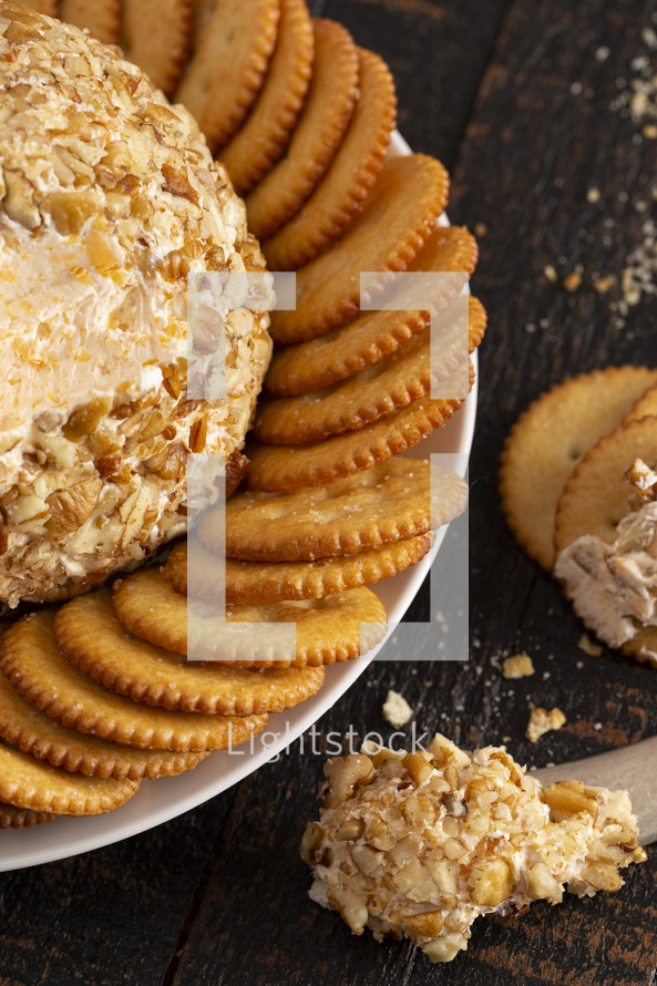cheese ball, and cracker tray