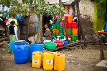 water jugs and food pails in Ethiopia