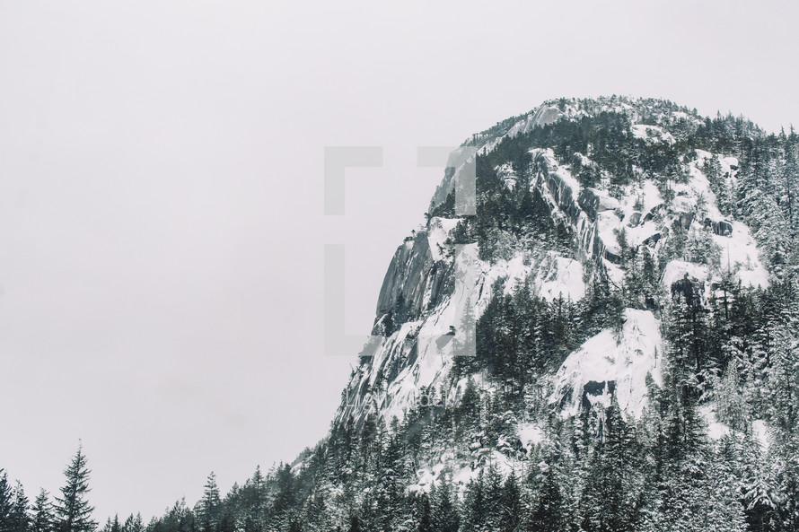 mountain peak with snow