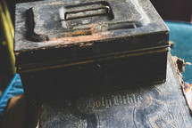 old tool box on an old Bible