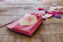a Valentines baggie with the word love