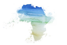 pastel watercolor painting of African continent