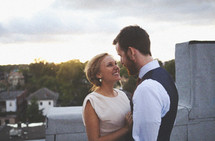 Happy couple on rooftop