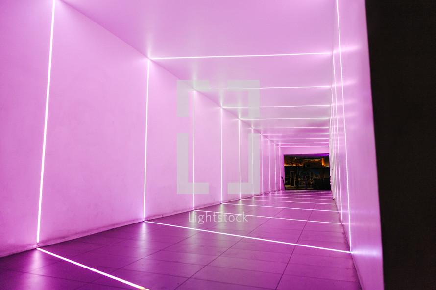 purple illuminated hallway