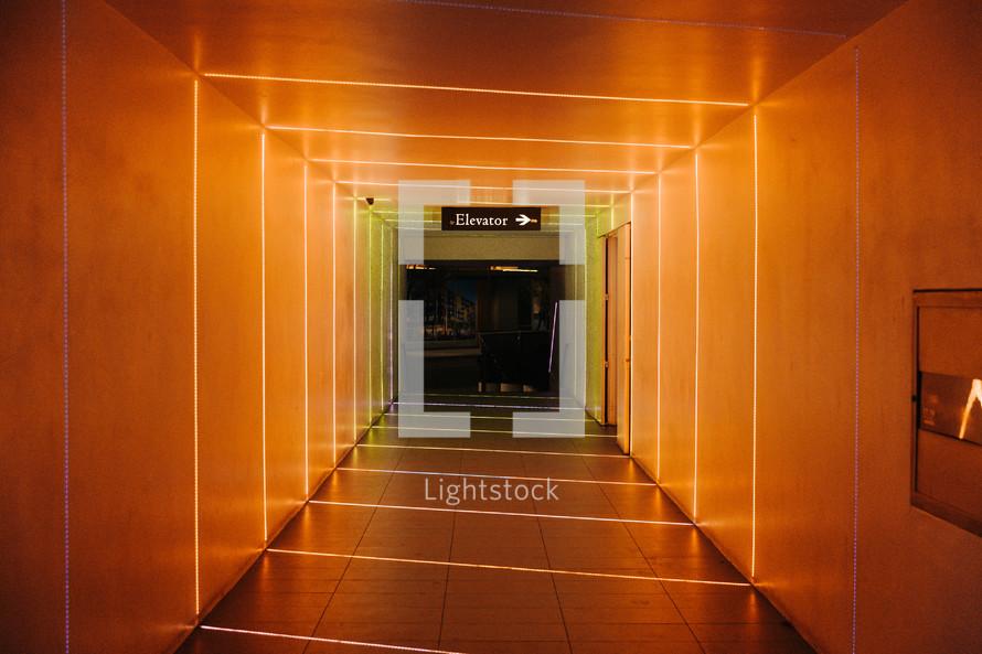 orange illuminated hallway