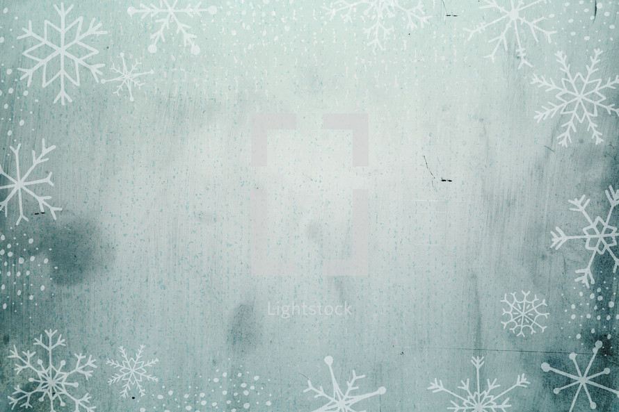 grunge snowflake border background.