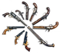 Antique gun collection made from 1780 to 1860.