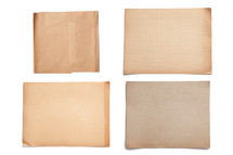 set of four grunged squares of paper