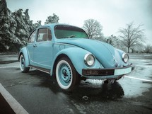 old Volkswagen Beetle with ice