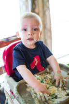 a cake smash at a first birthday party