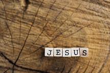 word Jesus on wood blocks