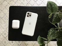 iPhone, Airpods, and houseplant