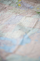 Close up of a crinkled road map.