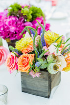 Flower arrangements as centerpieces colorful wood box