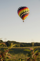 Floating hot air balloon