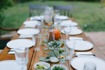 place setting on a fall dinner table