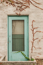 screen door green cement wall