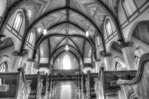 pews in a church interior