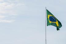 Brazilian flag on a flagpole