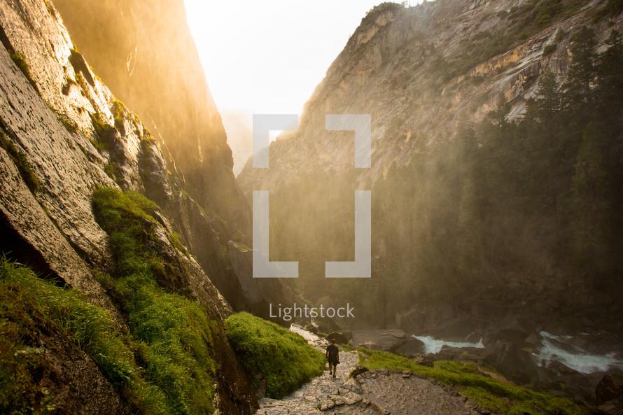 man hiking in Yosemite National Park