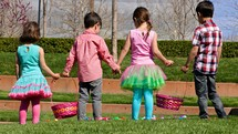 Children on an Easter egg hunt.