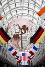 internatonal flags in Chicago's AirPort