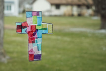 colored tissue paper cross craft