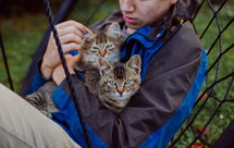 teen boy holding young cats