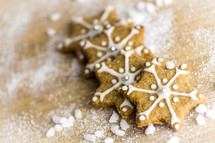 star Christmas cookie and flour