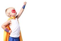 Little kid dressed as super hero.