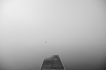 Foggy lake from the pier