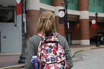 female student walking to class