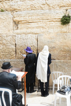 Orthodox Jews praying at the Western Wall in the Men Section.