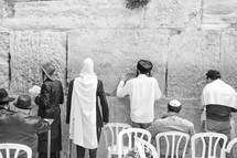 Orthodox Jews praying at the Western Wall in Jerusalem during the Purim Holiday.