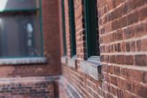 windows on a brick building