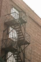 fire escape on a brick building