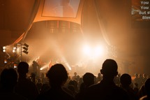 A crowd's perspective during a worship service
