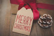 Merry Christmas Gift Tag Background