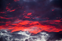 Dark orange clouds in the sky.