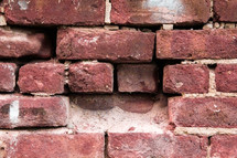 red bricks in a wall