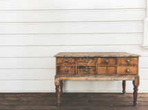 side table and shiplap